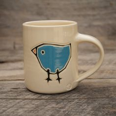 Handpainted 12oz mug with sky blue birds by AddledHillPottery, $28.00