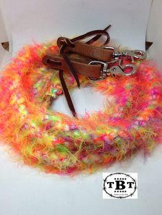 Neon rein, Fuzzy reins, reins, rainbow rein,  barrel racing, western reins, roping reins, fuzzy reins, fiber reins, soft reins by TiffanysBraidedTack on Etsy