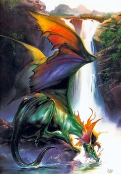 Afternoon Drink by Julie Bell Boris Vallejo Dragon Julie Bell, Boris Vallejo, Fantasy Dragon, Dragon Art, Magical Creatures, Fantasy Creatures, Dragon Occidental, Posca Art, Cool Dragons
