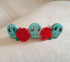 Day of the dead skull and rose barrette by QUEENBEADER on Etsy, $6.75