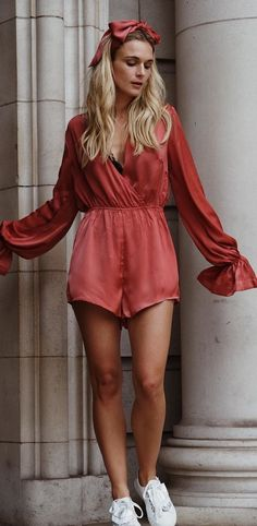 #fall #outfits Red Romper + White Sneakers
