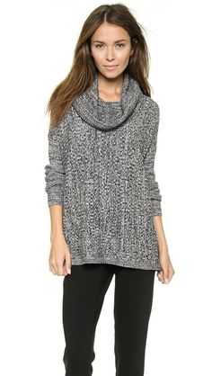 [horizontal ribbing, cool static graphic] -- alice + olivia Ribbed Cowl Neck Sweater
