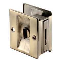 """Solid Brass sliding door lock and pull for passageway pocket doors Reversible Adjusts for 1-3/8"""" to 1-3/4"""" thick doors Carded Antique Brass Material: Plastic Finish: Textured"""