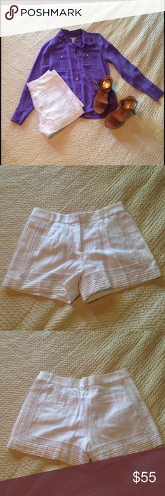 "J.Crew Shorts Linen lace-trim shorts with 3"" inseam. Sits right at the hip. They are fully lined and not see through at all. Never been worn, and still have the tags. Appliquéd lace and pintuck details. SOLD OUT EVERYWHERE. Shirt and shoes are not for sale‼️ J. Crew Shorts"
