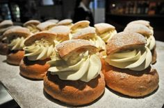 On fettisdagen, Swedes eat cardamon buns (called semlor) filled with thick almond paste and whipped cream.