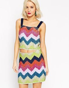 ASOS All Over Sequin Chevron Bralet, $57,  asos.com
