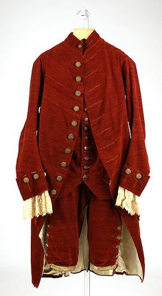 Suit Date:1775–80  Culture:British  Medium:cotton, metallic thread  Dimensions:Length at CB (a): 44 in. (111.8 cm) Length (b): 26 1/2 in. (67.3 cm) Length (c): 26 1/2 in. (67.3 cm) Credit Line:Purchase, Irene Lewisohn Bequest, 1977