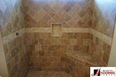 Travertine tile bath