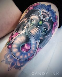 #neo #traditional #neo #school #elephant #tattoo #girly #sweet #animal #diamond #mandala #flowers #roses