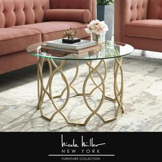 Nicole Miller Catalina Gold Coffee Table with Glass Top - The Home Depot - - Modern Glass Coffee Table, Stylish Coffee Table, Plywood Furniture, Elegant Living Room, Lounge, Types Of Furniture, Furniture Ideas, Hans Wegner, Stylish Home Decor