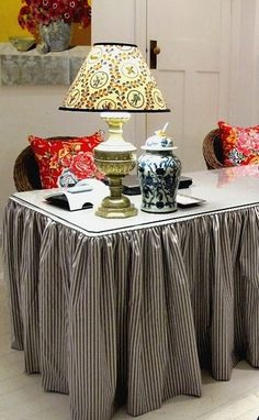 Decorating with ticking stripe fabric - possible to modify this desk skirt idea for my own work desk. Desk Skirt, Office Decor, Home Office, Office Spaces, Office Table, Cottage Office, Driven By Decor, Home Decoracion, Ticking Stripe