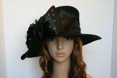 2012 New Winter Church Derby Wool Felt Satin Flower Wide Brim Black Hat  W10260  44ed6b203261