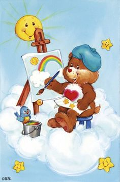 Tenderheart Bear, painting a picture