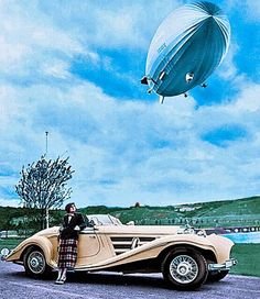 Airship with Mercedes Benz 540K