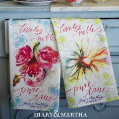 These Mary & Martha Tea Towels are SO pretty! Wouldn't you love to give these as a gift for someone? They would look great in your home too! mymaryandmartha.com/kristenmahurt/