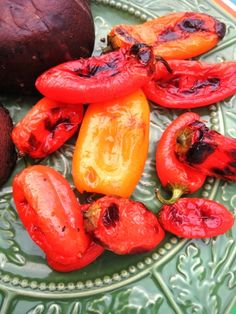 Grill peppers, chop, and top the burgers with them.