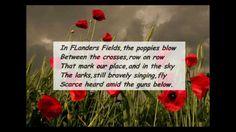 IN FLANDERS FIELDS. WW1 poem written by Lt. Colonel John McCrae, 1915