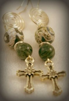 Green Lime Quartz and Dragon Vein Agate Earrings by BlingbyDonna, $21.00