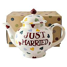 Emma Bridgewater Just Married Teapot, decorated wiith multicooured hearts surrounding lettering, earthenware, 2015, Stoke-on-Trent, UK