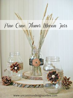 Pine Cone Flower Embellished Mason Jars…  Great for center piece for any occasion or for a fall wedding!