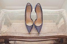 Christian Louboutin Glitter Heels Shoes Blue Bride Timeless Modern Hydrangea Wedding http://www.cottoncandyweddings.co.uk/