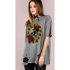 SheIn(sheinside) Oversized Short Sleeve Royalty Graphic Tee ($12) ❤ liked on Polyvore featuring tops, t-shirts, grey, graphic tees, oversized tees, skull graphic tees, oversized graphic tee and short sleeve t shirt