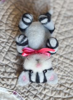 Needle Felted Kitty Cat with Heart for the Cat Lover In Your Life Cynthia Foust Wolfe on Etsy, $27.00