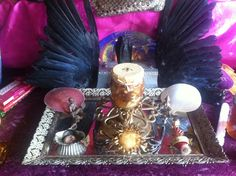 """altar detail from LLR Aphrodite """"Golden Hive Heart"""" Temple Aug 2014. Example of art designed to invoke the sovereign self or Immanent self."""
