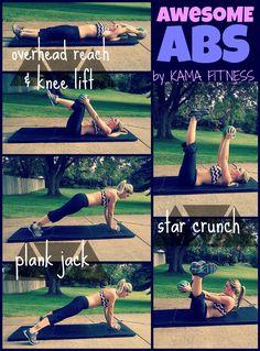 Awesome ABS Workout | KAMA FITNESS  15min AMRAP 20 Overhead Reach & Knee Lift 40 Plank Jacks 20 Star Crunch