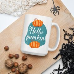 Hello Pumpkin - Glossy Ceramic Coffee Mug - Cute - Hello Fall - Hello Autumn - Pumpkin Spice. Whether you're drinking your morning coffee, evening tea, or something in between – this mug's for you! It's sturdy and glossy with a vivid print that'll withstand the microwave and dishwasher.