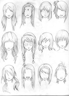 Hair Reference --- Art, Anime, Manga, Drawing, Sketch, Hairstyle, Braid, Long, Bun, Short [tenzen888 @deviantart]