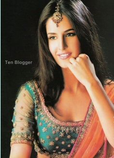 Kashmiri Brit Indian Actor Katrina Kaif in gorgeous blouse, Designer unknown