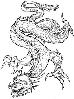Chinese Dragon Outline