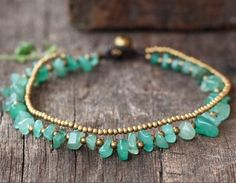 Items similar to Jade Aventurine Chips Stone Brass Chain Anklet/ Bracelet on Etsy Turquoise Jewelry, Boho Jewelry, Gemstone Jewelry, Turquoise Bracelet, Beaded Jewelry, Jewelery, Silver Jewelry, Jewelry Accessories, Handmade Jewelry