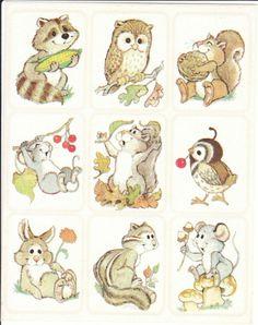 Vintage Eureka Adorable Animals Sticker Sheet
