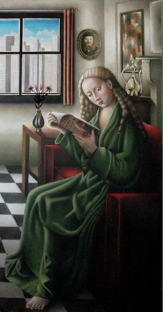 Amy Hill: Reader. oil on canvas. h 50 w 26 inches
