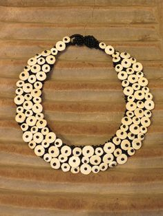 Ostrich eggshell and glass beaded necklace, Namibia.