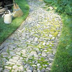 Love stone paths. Getting all those rocks flat and to fit together would be a job though.