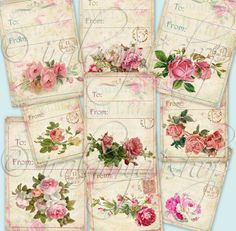 FLORAL TAGS collage Digital Images  printable by iralamijashop, $4.00