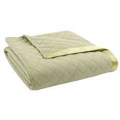Micro Flannel Quilted Reversible Blanket, Green