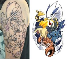 """""""The beginnings of Stuart's sleeve as the donation for @videogametatts book fund! And amazingly enough on #pokemon 20th #anniversary !! Bring me your…"""""""