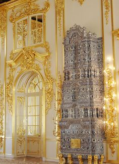 Catherine Palace - Tsarskoye Selo, Russia. That blue and white tile is a heater.