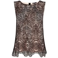 Warehouse Baroque Lace T-Shirt, Black ❤ liked on Polyvore