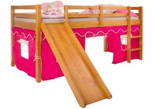 Cama com Escorregador e Cabaninha Brincar - Cerezo e Pink