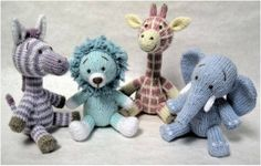Not So Wild Animals Knitted Toys  Set of 4 by DesignedByJayBee, £100.00