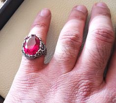ruby identical synthetic stone high quality imitation corundum red color huge men ring sterling silver 925 any size jewelry Risk free Quality guarantee policy : If you are not satisfied with your item for any reason simply send it to us and you will get a replacement or full refund .
