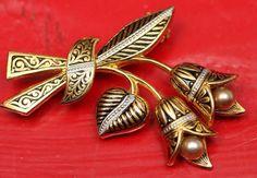 spanish flower brooch   Damascene Pin Spanish Style Pearl Flower Brooch 1950s Very Pretty Pin