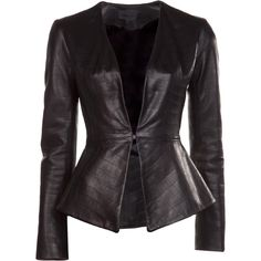 Cushnie et Ochs Croc leather jacket (€470) ❤ liked on Polyvore featuring outerwear, jackets, coats, leather jackets, tops, black, crocodile skin jacket, cushnie et ochs, alligator leather jacket and crocodile leather jacket