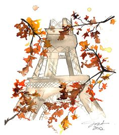 Print from original watercolor titled Paris in the Fall, by Jessica Durrant.