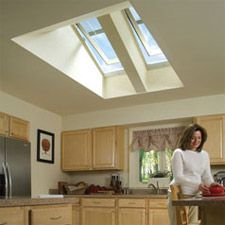 Installing an ENERGY STAR® qualified VELUX Sun Tunnel today will decrease your carbon footprint by about compared to non-qualified products. Skylight Window, Roof Window, Skylight Shade, Sun Roof, Roof Light, Kitchen Skylights, Kitchen Ceilings, Farmhouse Kitchen Island, Sweet Home